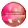 Glass Bead Dimpled Flat 18mm Raspberry Strung